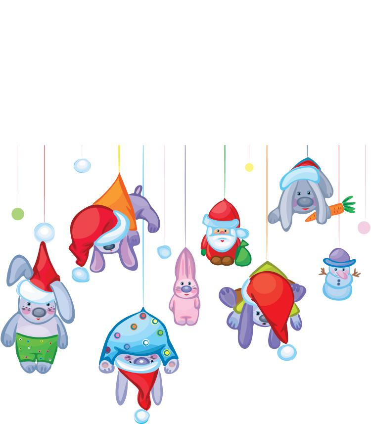 free vector Santa claus and the cute rabbit vector