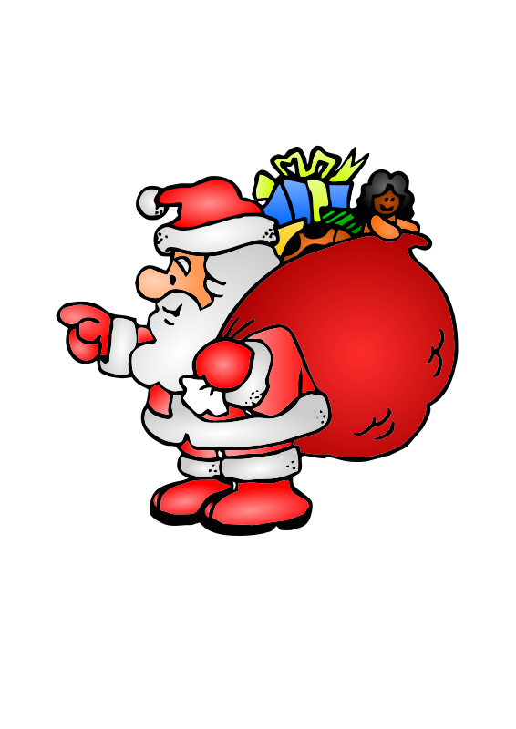 free vector Santa Claus with his bag