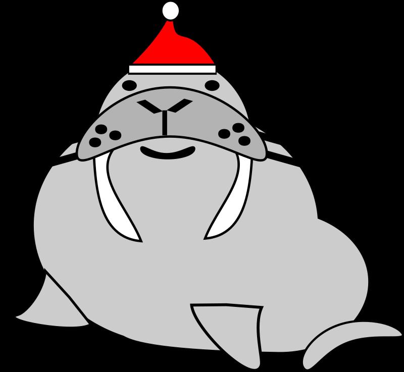 free vector Santa walrus