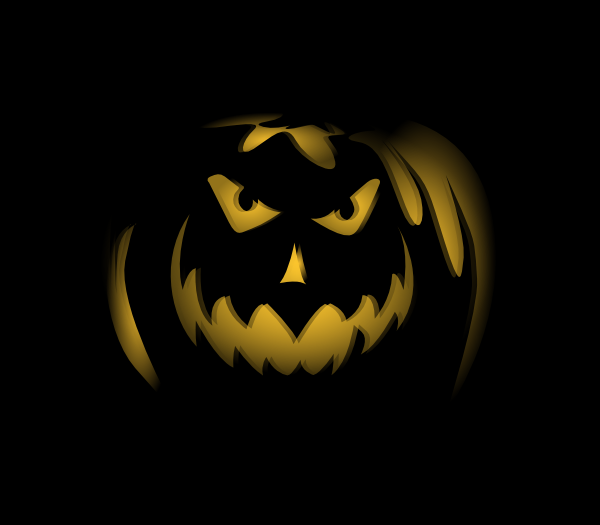 free vector Scary Dark Night Pumpkin Ghost Lantern clip art