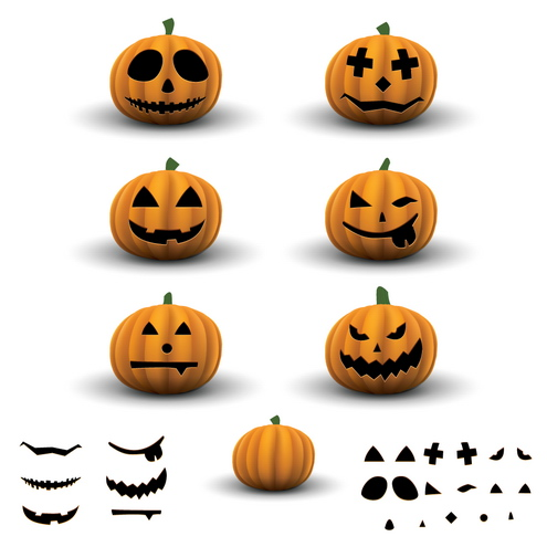 free vector Scary Halloween Pumpkins Vector