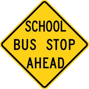 free vector School Bus Stop Ahead Sign clip art