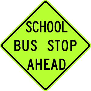 free vector School Bus Stop Ahead Sign Fluorescent clip art