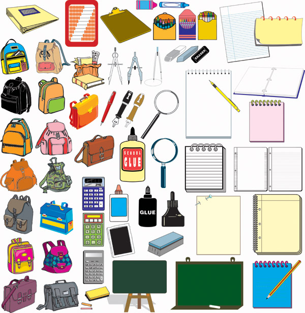 free vector School supplies vector