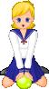 free vector Schoolgirl With Green Ball clip art
