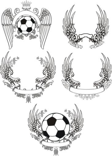 free vector Scrolled Wings Designs