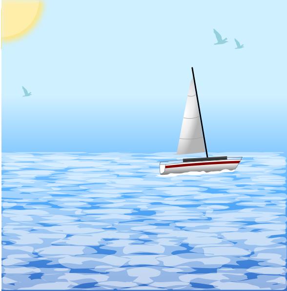 free vector Sea Scene With Boat clip art