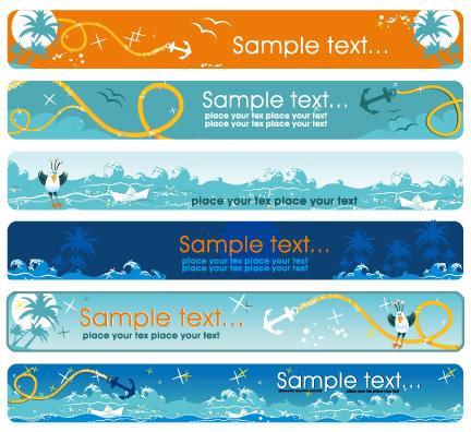 free vector Sea theme Vector banner material