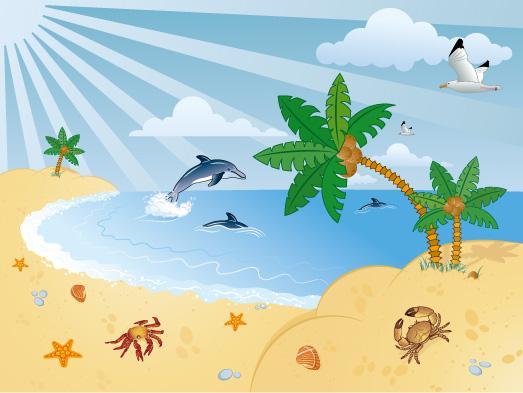 free vector Seascape coconut tree  Porpoise