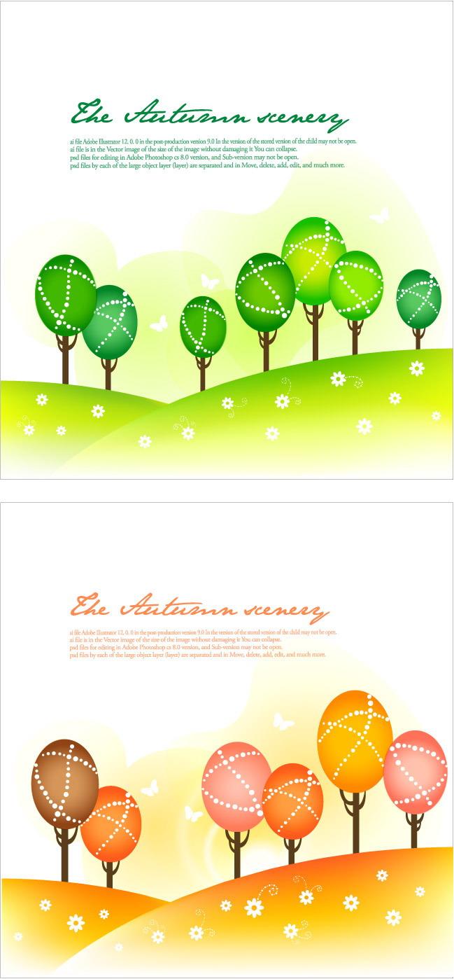 free vector Seasonal changes landscape illustrator vector 1