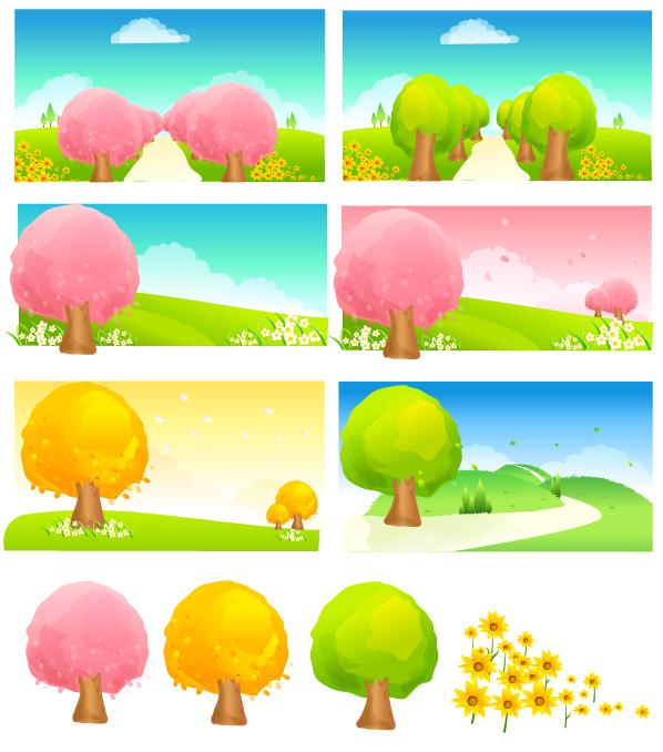 free vector Seasonal changes of trees vector