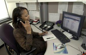 free vector Secretary Answering Phone  clip art