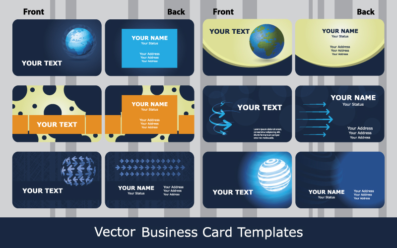 Sense Of Business Card Templates Technology Blue 01 Vector Free Vector / 4Vector