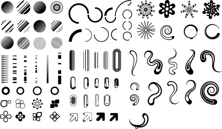 free vector Series of black and white design elements vector 3 simple graphics