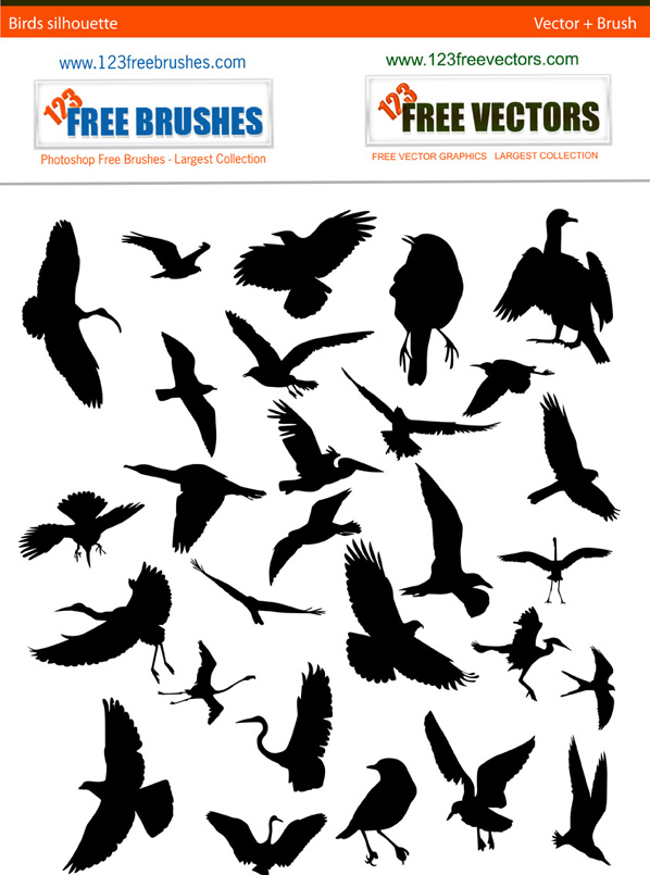 free vector Set of birds silhouettes