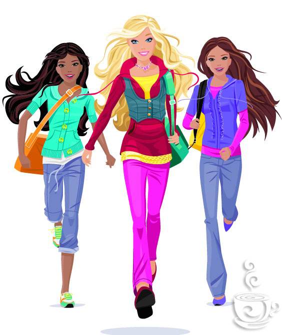 free vector Set of vector fashion girl