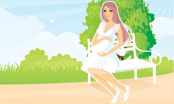 free vector Seven pregnant women vector