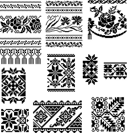 free vector Several European classical style lace pattern pixel pattern