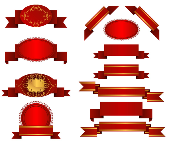 free vector Several red ribbon streamers vector