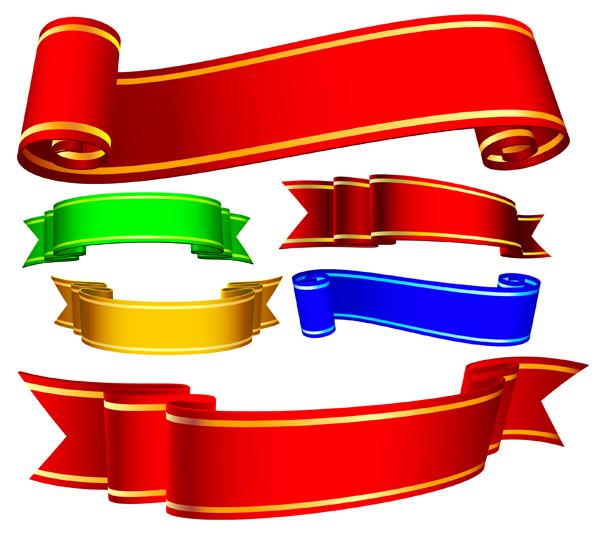 Several ribbons ribbons banner vector Free Vector / 4Vector