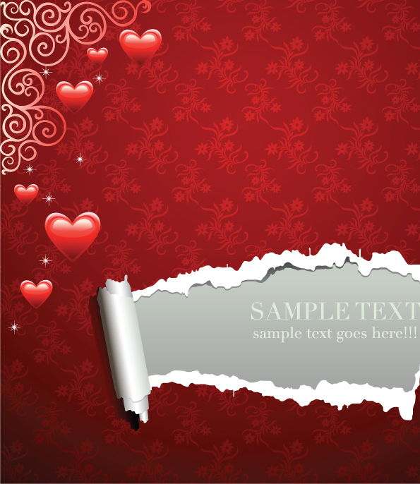 free vector Several romantic love pattern vector