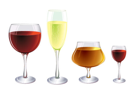 free vector Several wine bottles and glasses vector