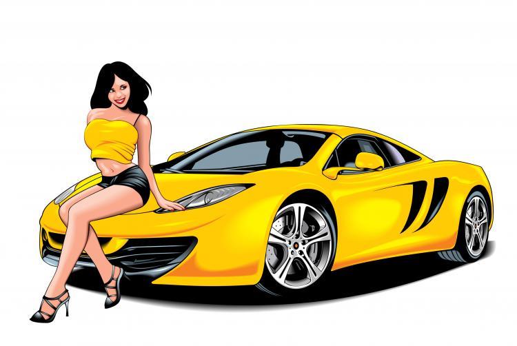 free vector Sexy and car 03 vector
