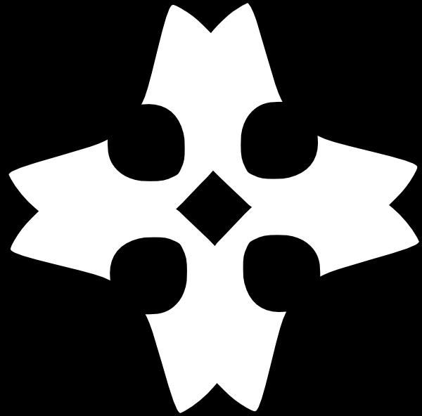 free vector Shaded Heraldic Cross Outline clip art