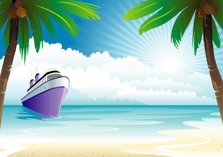 free vector Ship, boat coconut tree on the sea