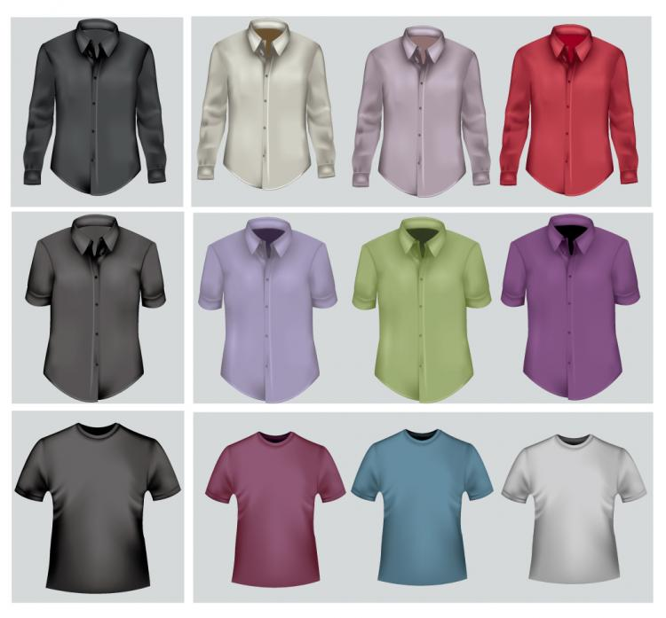 free vector Shirts and tshirts of various styles vector