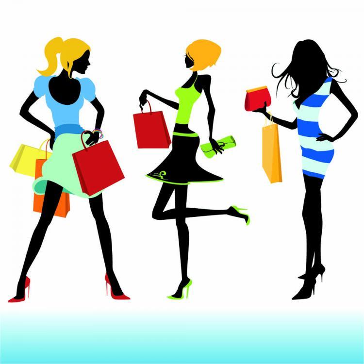 shopping girl 02 vector free vector 4vector. Black Bedroom Furniture Sets. Home Design Ideas