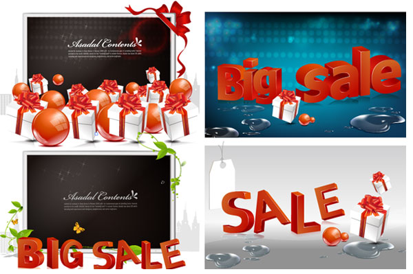 free vector Shopping sales 3D text vector