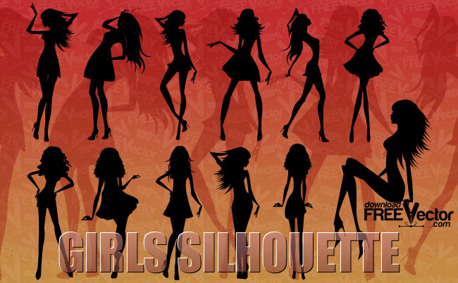 free vector Silhouette of beautiful girls