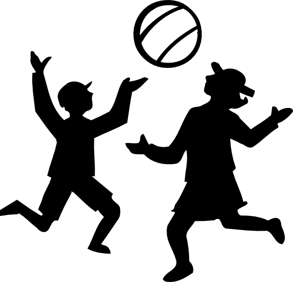 free vector Silhouette Of Kids Playing With A Ball clip art