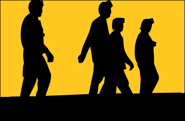 free vector Silhouette Of People In Front Of Sunset clip art