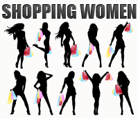 free vector Silhouette Shopping Women
