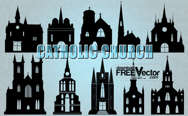 free vector Silhouettes Catholic Church