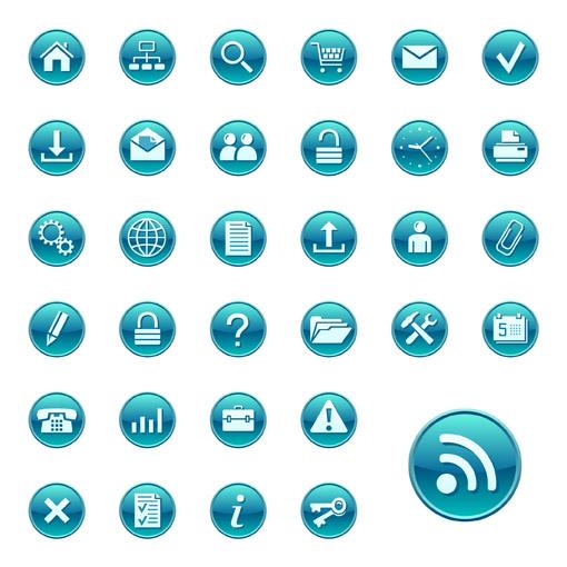 free vector Simple blue circular icon vector