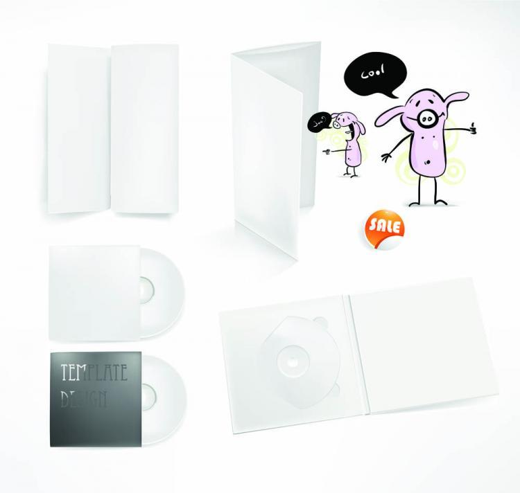 free vector Simple cd packaging 01 vector