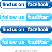 free vector Simple Facebook and Twitter Buttons 8914