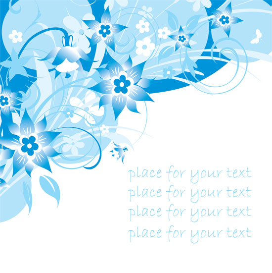 free vector Simple handpainted flowers and blue text background pattern vector 3
