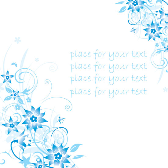 free vector Simple handpainted flowers and blue text background pattern vector 4
