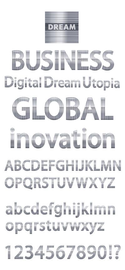 free vector Simple metallic digital vector english