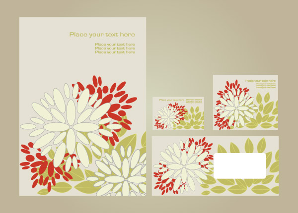 free vector Simple vi template vector flowers 1