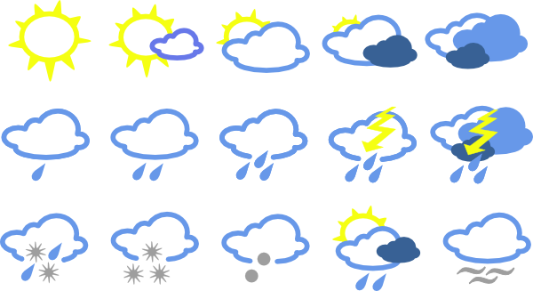 free vector Simple Weather Symbols clip art