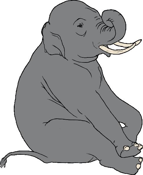 free vector Sitting Elephant clip art
