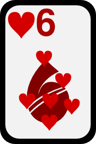 free vector Six Of Hearts clip art