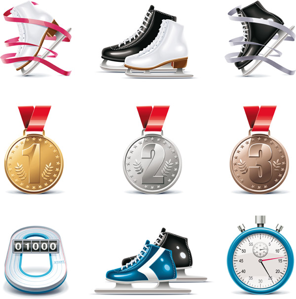 free vector Skating theme icon vector