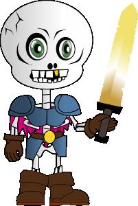 free vector Skeleton Holding Sword clip art