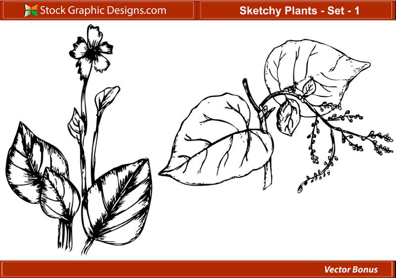 free vector Sketchy Plants